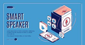 Smart speaker landing on retro colored background stock image