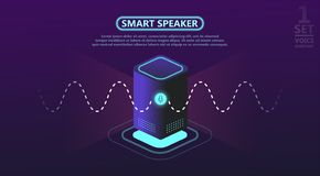 Smart speaker reports the news, plays music vector illustration