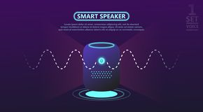 Smart speaker reports the news, answers questions. vector illustration