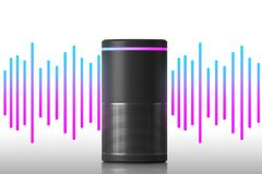 Smart speaker and sound wave royalty free stock image