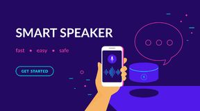 Smart speaker, voice command device with integrated virtual assistant. Flat vector neon website template and landing page design of human hand holds smartphone royalty free illustration