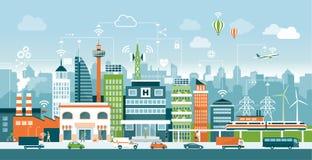 Smart stad vektor illustrationer