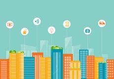 Smart stad för affär för kabelanslutning för bakgrund blå propp för internet djup samkväm stock illustrationer