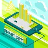 smart stad för mobil teknologi Arkivbild