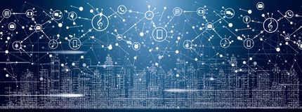 Smart stad med neonbyggnader, nätverk och internet av saker vektor illustrationer
