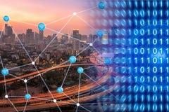 Smart stad med smart teknologi för wifianslutningsvisning Royaltyfria Bilder