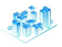 Smart stad stads- översikt 3d med bostads- isometriska byggnader Teknologi för nytt hus och ökat verklighetvektorbegrepp vektor illustrationer