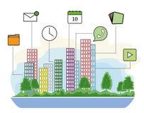 Smart stads- och radiokommunikationsnätverk Modern stadsdesign med framtida teknologi för att bo Smart intelligens för stadsdesig royaltyfri illustrationer