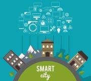 Smart stads- och symbolsuppsättning Teknologi- och internetdesign vektor vektor illustrationer