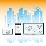 Smart stadsbegrepp, modern stadsdesign med framtida teknologi Fotografering för Bildbyråer