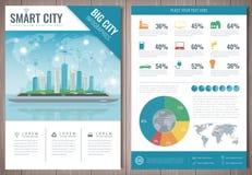 Smart stadsbroschyr med infographic beståndsdelar Mall av tidskriften, affisch, bokomslag, baner, reklamblad Storstadliv Royaltyfri Foto