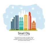 Smart stadsdesign Social massmediasymbol begrepp isolerad teknologiwhite stock illustrationer