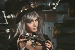 Smart steampunk mechanic Royalty Free Stock Photo
