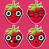 Smart Strawberries with Eyeglasses Stock Image