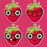 Smart Strawberries with Eyeglasses Stock Image