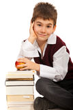 Smart student boy with books Royalty Free Stock Photo