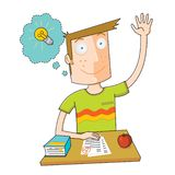 Smart student Cartoon royaltyfri illustrationer
