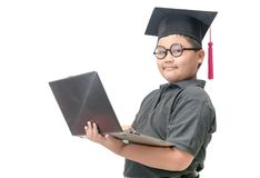 Smart student holding laptop isolated. On white background, Back to school concept Stock Photography