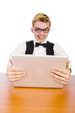 Smart student sitting with laptop Royalty Free Stock Images