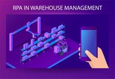 Smart system för RPA-lagerledning Isometrisk vektor stock illustrationer