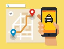 Smartphone with taxi service application. Smart taxi concept. Smartphone with taxi service application Stock Photography