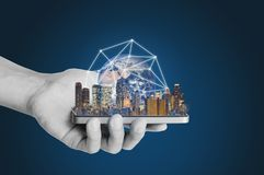Smart technology, smart city and network technology.Element of this image are furnished by NASA. Smart technology, smart city and network technology. Hand stock photo