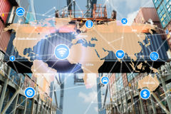 Smart technology concept with global logistics partnership for L Stock Photography