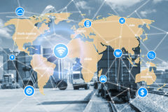 Smart technology concept with global logistics partnership for L Stock Photo