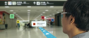 Smart technology in industry mobile 4.0 or 5.0 concept , user use smart glasses with augmented mixed virtual reality technology in. Real 3d for show the map royalty free stock photography