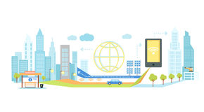 Smart Technology in Infrastructure of City. Smart technology in infrastructure of the city. Icon and network system, communication innovation town, connection Royalty Free Stock Images