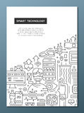 Smart Technology - line design brochure poster template A4 Royalty Free Stock Image