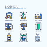 Smart Technology - modern vector flat line desigm icons set. Smart Technology - modern vector flat line design icons set. Game console, gyroscooter, wifi Royalty Free Stock Image