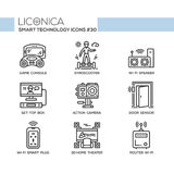 Smart Technology - modern vector flat line desigm icons set. Smart Technology - modern vector flat line design icons set. Game console, gyroscooter, wifi Stock Photo