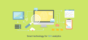 Smart Technology for SEO Analytics Icon Flat Stock Image