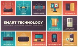 Smart technology - set of flat design infographics elements. Router wi-fi, copter, guroscooter, action camera, door sensor, kettle, air purifier, set-top box Stock Photos