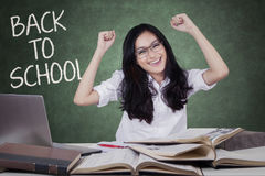 Smart teenage girl celebrate back to school Stock Images
