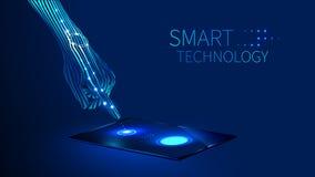 Smart teknologi för hand royaltyfri illustrationer