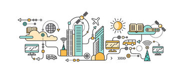 Smart teknologi i infrastruktur av staden Arkivbilder