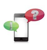 Smart-teléfono con discurso de la pregunta y de la respuesta Imágenes de archivo libres de regalías