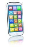 Smart telefon eller mobil med applikationapps app stock illustrationer