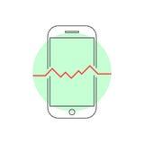 Smart telefon för översikt med hjärtslag stock illustrationer