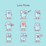 Smart telefon för förälskelsetecknad film vektor illustrationer