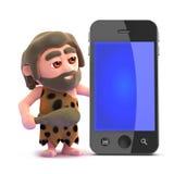 smart telefon för grottmänniska 3d Royaltyfria Bilder