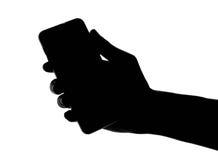 Smart telefon för hand- och fingerfattande Arkivbilder