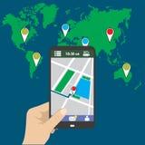 Smart telefon för handinnehav, gps-översikt på mobil vektor illustrationer