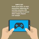 Smart telefon för handinnehav, kontrollanten för skärmsymbolslek royaltyfri illustrationer