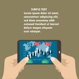 Smart telefon för handinnehav med grafer stock illustrationer