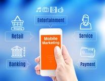 Smart telefon för handinnehav med mobilt den marknadsföringsord och symbolen på Royaltyfri Foto