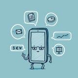 Smart telefon för herr på arbete vektor illustrationer
