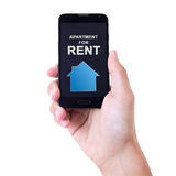 Smart telefon för manlig mobil för hand hållande med fastighetapplicatio arkivbilder